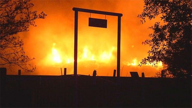 Massive Fire Burns McLoud Salvage Yard