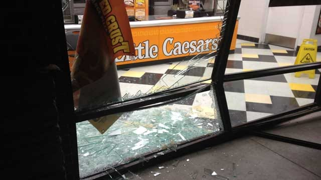 Police Seek Driver Who Crashed Truck Into MWC Little Caesars