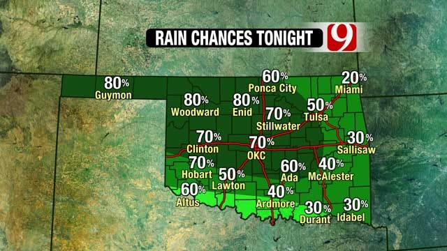 Showers, Storms Possible Overnight In Central, Northwest Oklahoma