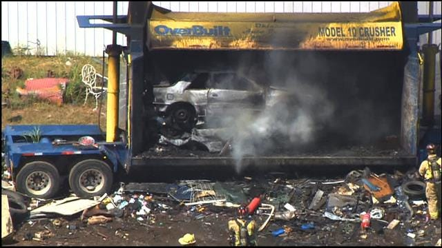 Car Crusher Catches Fire At SE OKC Salvage Yard