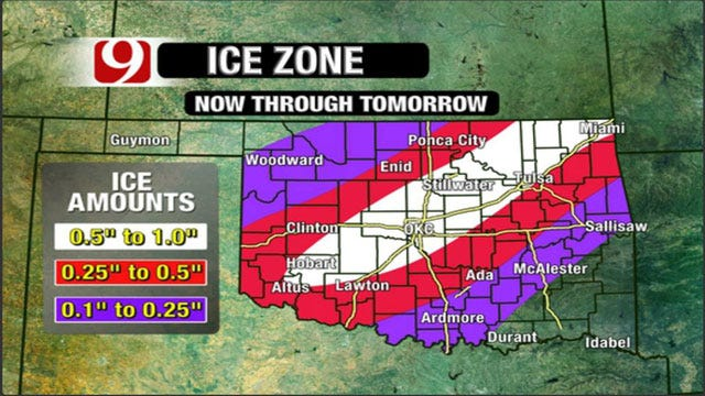 Ice Storm Warning Issued For Parts Of Oklahoma