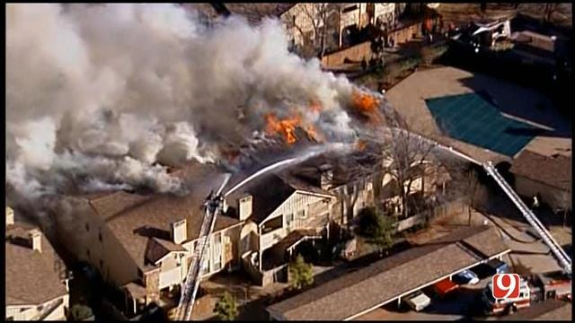 Firefighters Battle Flames At Condo Near Quail Springs Mall