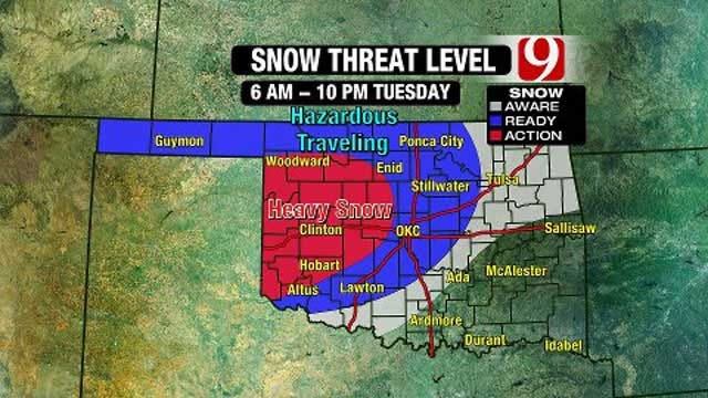 News 9 Weather Team Updates On Snow Threat In Oklahoma On Tuesday