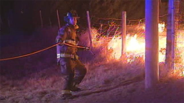 Brothers Rescued When Grass Fire Surrounds NW OKC Home