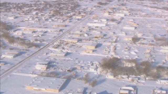 News 9's Pilot Jim Gardner Flies Over Snow Blanketed Oklahoma