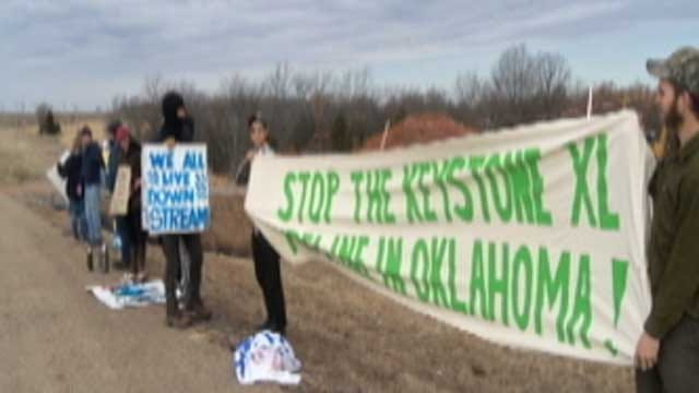 Protest Postpones Work On Keystone Pipeline Project In Okfuskee County