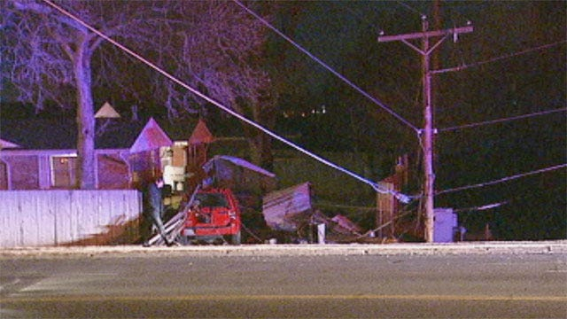 Driver Crashes Through NW OKC Fence, Into Power Lines