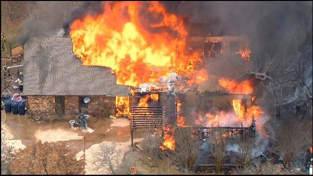 Fire Devours Home In NE Oklahoma City