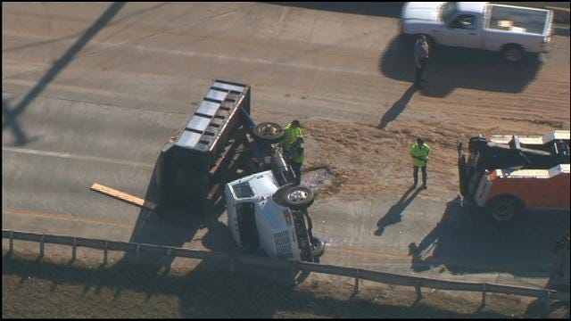 All Lanes Of I-44 In SW OKC Back Open After Dump Truck Flips