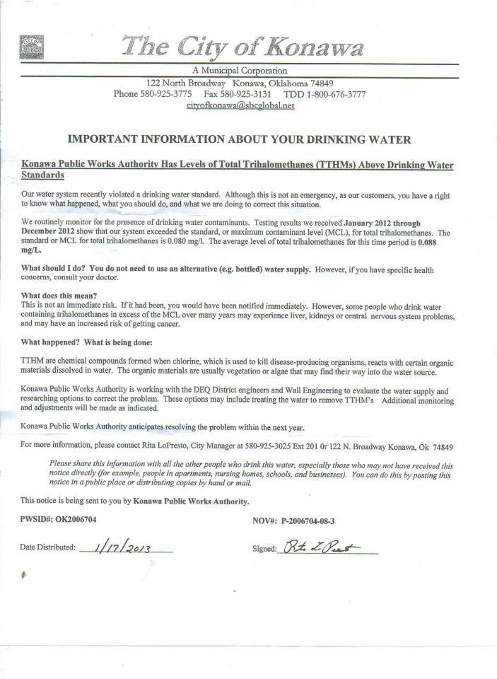 Konawa Water Woes Now Include Dangerous Carcinogens