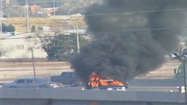 Thief Sets Stolen Car On Fire, Backs Up Traffic In NW OKC
