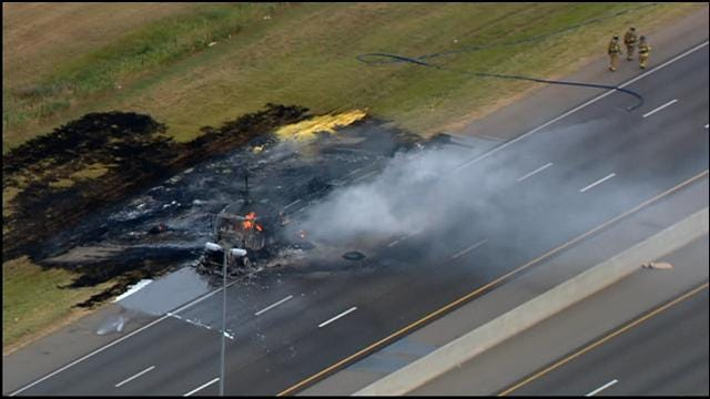 Crews Repair NB I-35 In Norman, Damaged After Semi Explosion