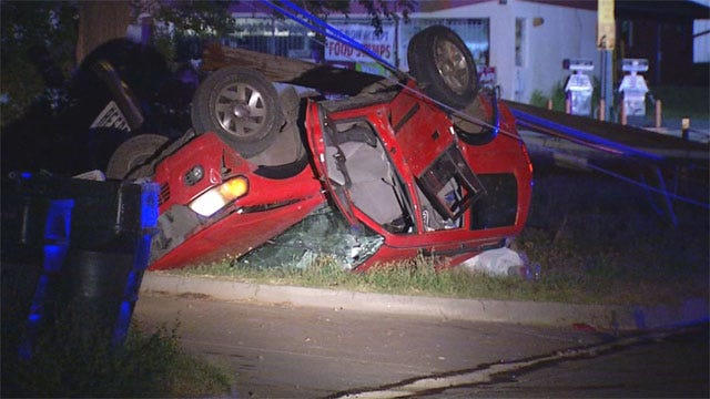 Man Killed, Woman Injured When Car Hits Power Pole In SW OKC