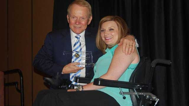 Woman Injured In Tornado Presents Award To News 9's Gary England
