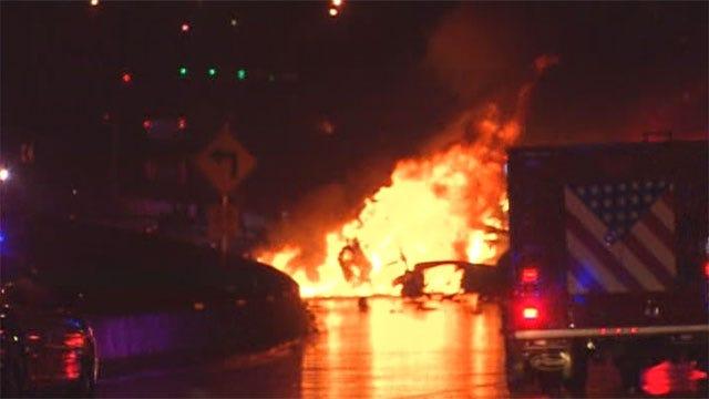 Fiery Semi Crash On OKC Highway Sends 2 To Hospital