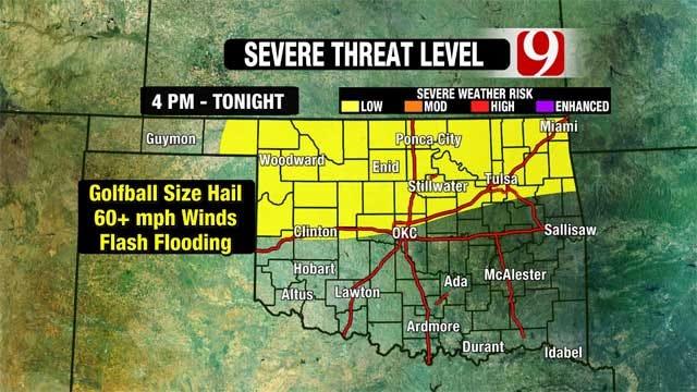 Severe Weather Risk Across Oklahoma Monday