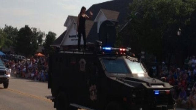 OK County Sheriff's Office Criticized For Having Baton Twirler On Top Of Moving Vehicle