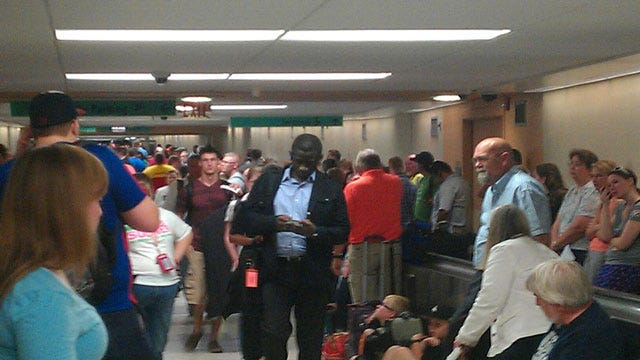 Thousands Take Shelter At Underground Tunnel At OKC Airport