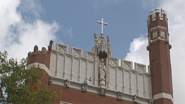 Replacement Turrets Going Up At St. Gregory's University After Earthquake