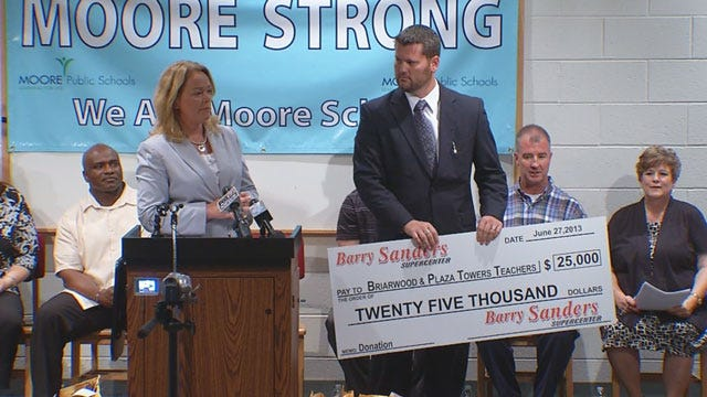 Barry Sanders Supercenter Gives Big Donation To Plaza Towers, Briarwood Schools