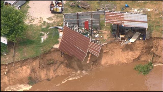 River Flooding, Erosion Swallows Structures In Choctaw