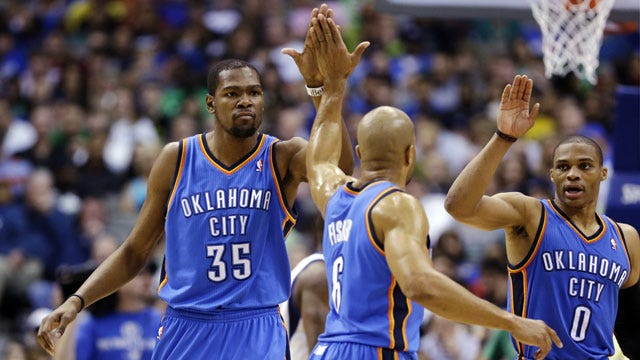 Durant, Westbrook Power OKC Past Dallas