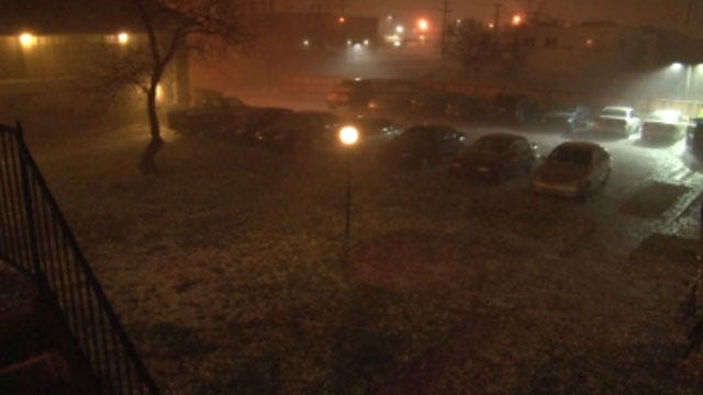 Hail Pounds Norman Early Easter Morning