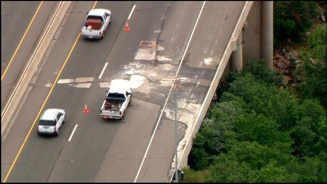 Hole On I-35 Bridge Over NE 63rd St. Repaired