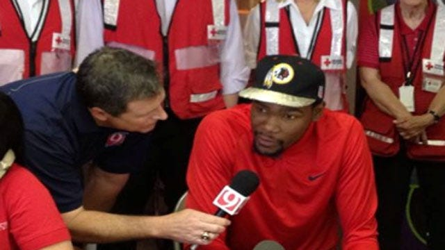 Kevin Durant Joins News 9/Red Cross Tornado Relief Efforts