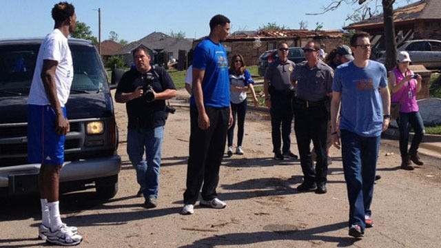 Thunder Players Tour Tornado Damage In Moore