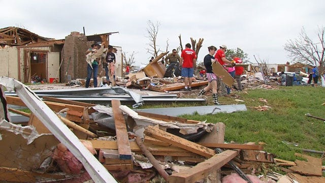 Students Clean Up What's Left of Moore Teacher's Home