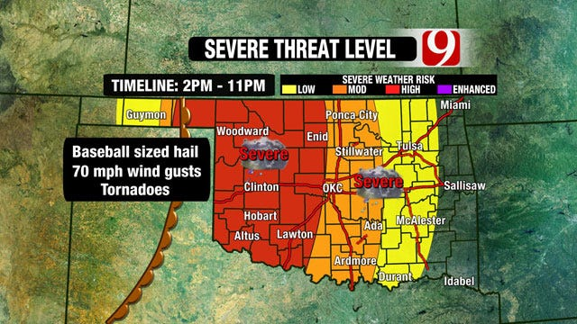 Severe Weather Risk Elevated Across Oklahoma Wednesday