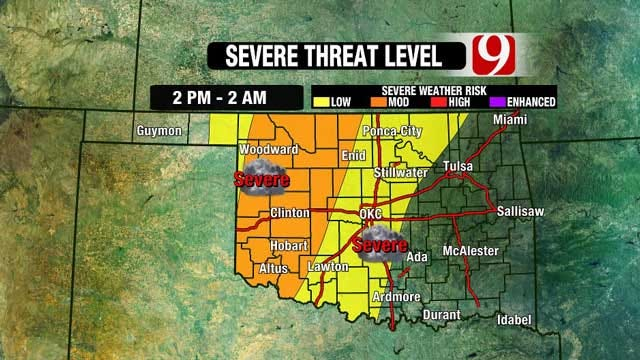 Strong To Severe Thunderstorms Expected Wednesday In Oklahoma