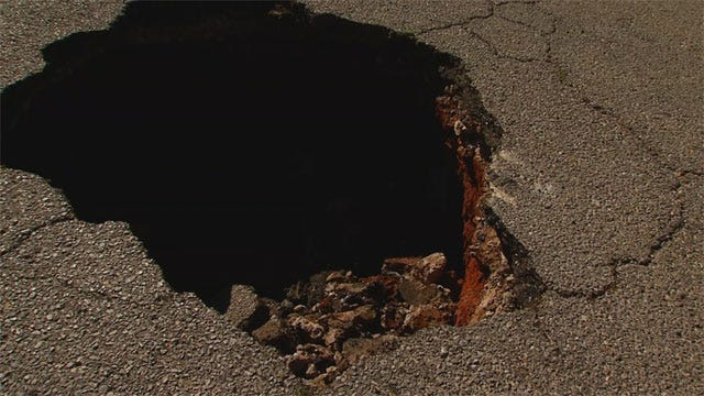 Firefighters Discover Large Sinkhole In SW OKC