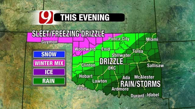 Arctic Cold Front Moving Through Oklahoma