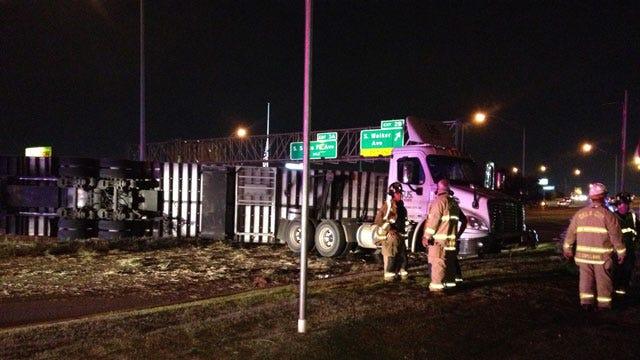 Semi Truck Rolls, Leaks Fuel On I-240 In SW OKC