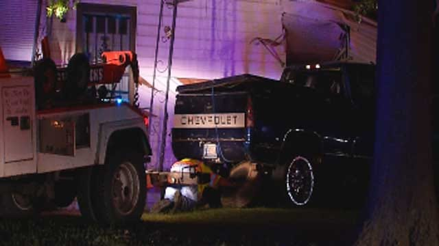 Police Chase Ends As Suspect Crashes Stolen Truck Into OKC Home
