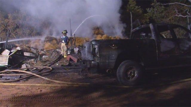 SE OKC Fire Destroys Vehicles, Outbuilding