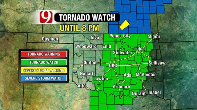 Tornado Watch Issued For Central Oklahoma
