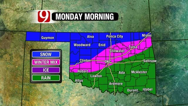 Winter Precipitation Reappears Monday After Severe Storms Sunday