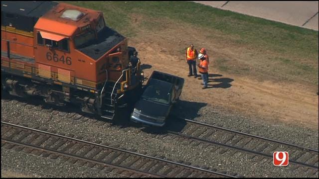 No One Injured As Train Hits Pickup Truck In Norman