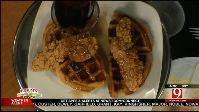Cinnamon Chicken and Waffles with Bourbon syrup