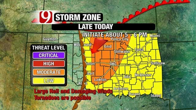 Large Hail, Tornadoes Possible Wednesday Evening In OKC Metro