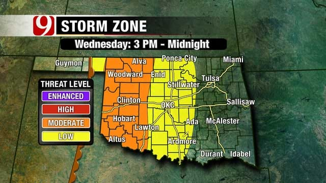 High Winds, Large Hail, Isolated Tornadoes Expected Wednesday