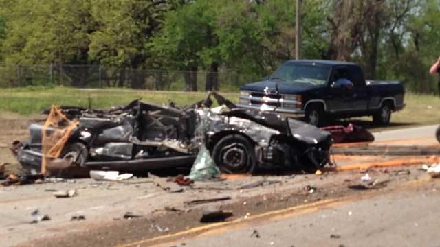 Semi Carrying Crushed Cars Clips Bridge In NE OKC