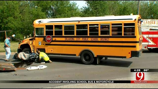 School Bus, Motorcycle Crash In NW OKC