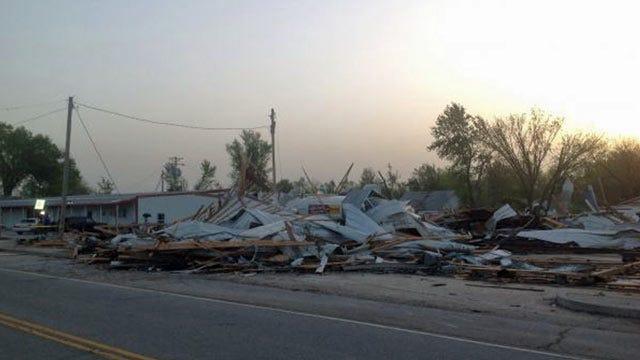 OK Governor Tours Tornado Damage In Quapaw