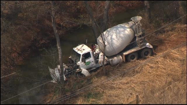 OHP: Cement Truck Runs Off Road In Edmond