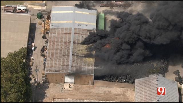 Crews Contain Fire At OKC Tire Warehouse