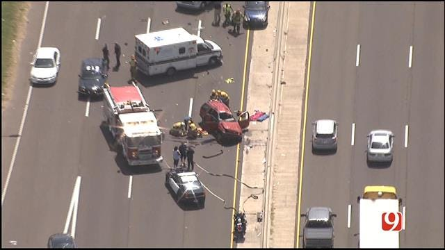 Three Injured In Rollover Crash On Westbound I-40 In Midwest City